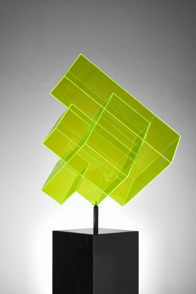 Skulptur neon gelb Ralph Kerstner